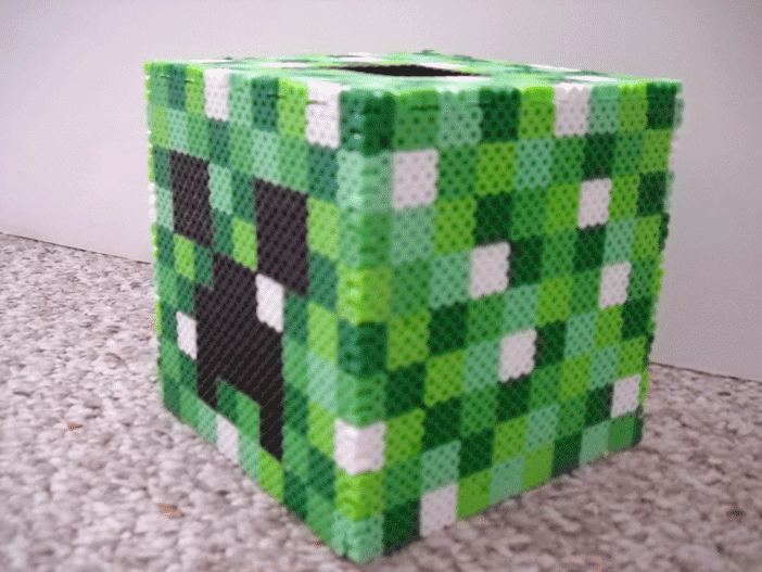 minecraft perler creeper tissue box cover by iheartkitties. Black Bedroom Furniture Sets. Home Design Ideas