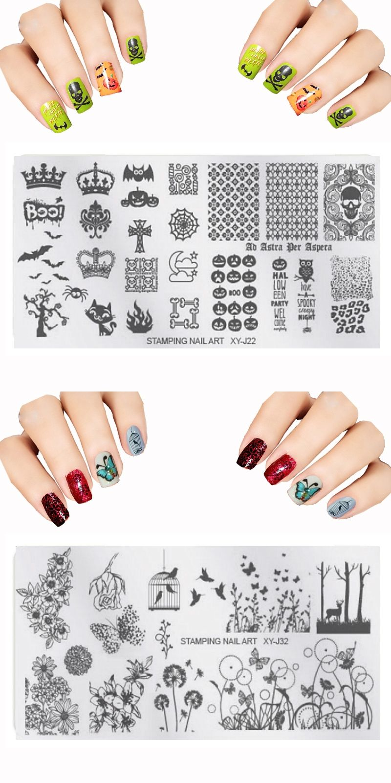 New Xyj Set Nail Art Templates Kit Flower Christmas Tree Steel For