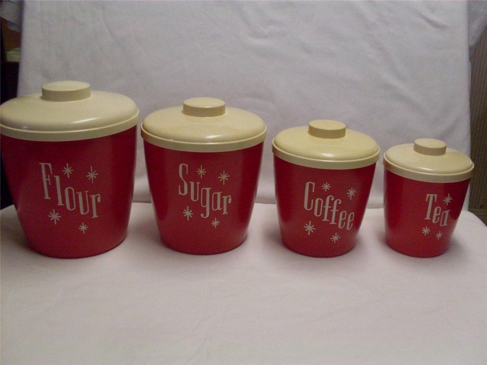 VINTAGE COLS PLASTIC PRODUCTS CANISTER SET 50-60s RETRO RED ...