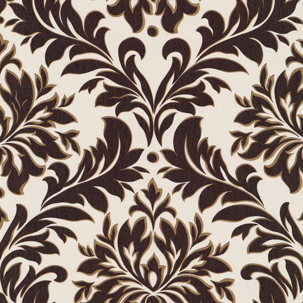 Caselio da casa damask wallpaper brown white hallway for Brown wallpaper for walls