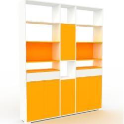 Photo of Regalsystem Weiß – Regalsystem: Schubladen in Weiß & Türen in Gelb – Hochwertige Materialien – 190 x
