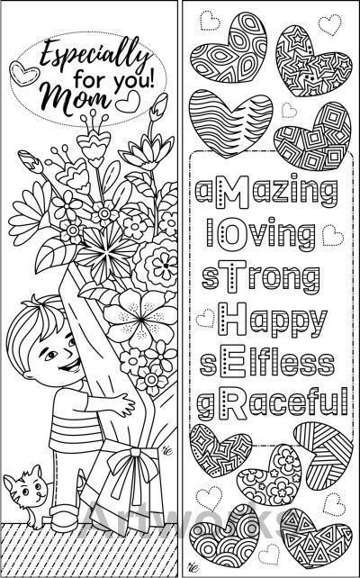 8 Mother 39 s Day Coloring Bookmarks