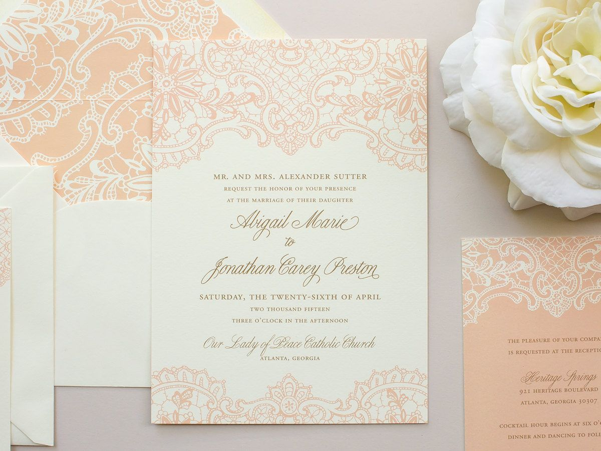items similar to elegant lace wedding invitation vintage letterpress invitation pink invitations vintage wedding invite deposit - Vintage Lace Wedding Invitations