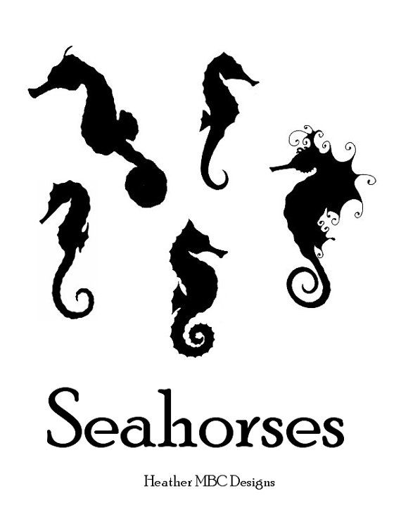 Available in this listing are seahorses outline templates