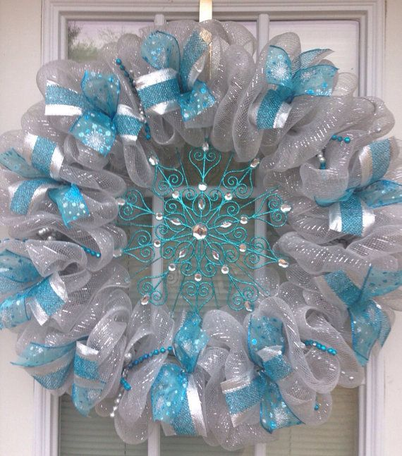 Blue And Silver Deco Mesh Christmas Wreath Ready To Ship On Etsy 52 00 Deco Mesh Christmas Wreaths Deco Mesh Wreaths Tutorials Christmas Mesh Wreaths