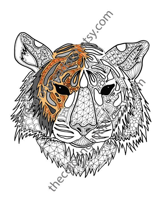 Digital Tiger Coloring Sheet Animal Coloring By Thecoloringaddict