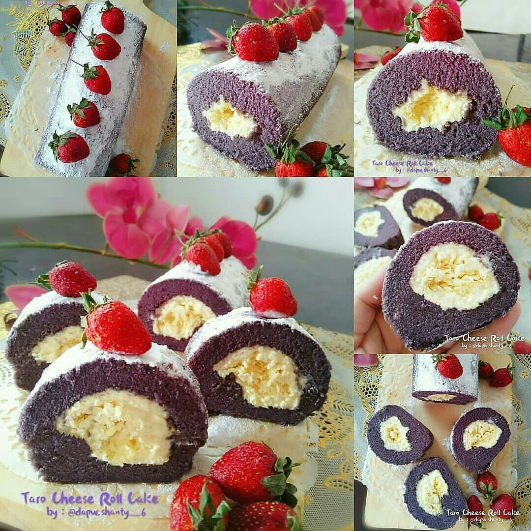 Resep Taro Cheese Roll Cake Aneka Kue Kue Makanan