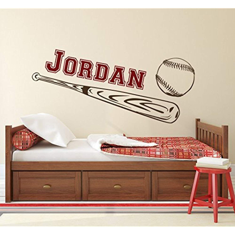 Name WALL DECAL Boy Baseball Personalized Boys Name Decor