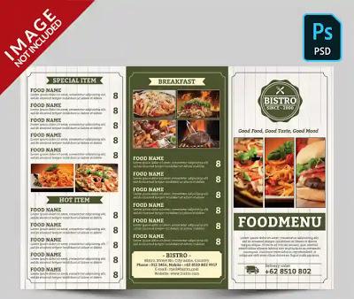 تحميل تصميم منيو مطعم Psd قابل للتعديل Menu Restaurant Design Psd