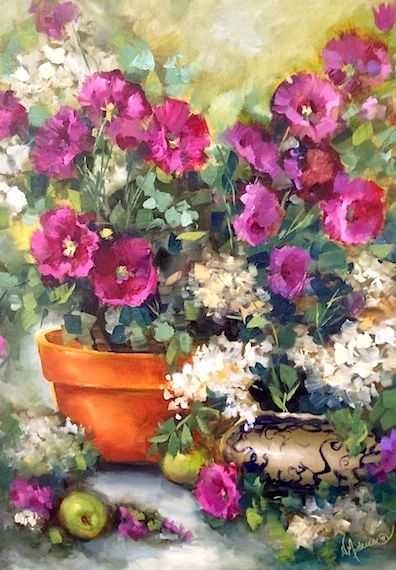Artists Of Texas Contemporary Paintings and Art - Hollyhocks and Oak Leaf Hydrangeas and a Lees Summit Workshop by Nancy Medina