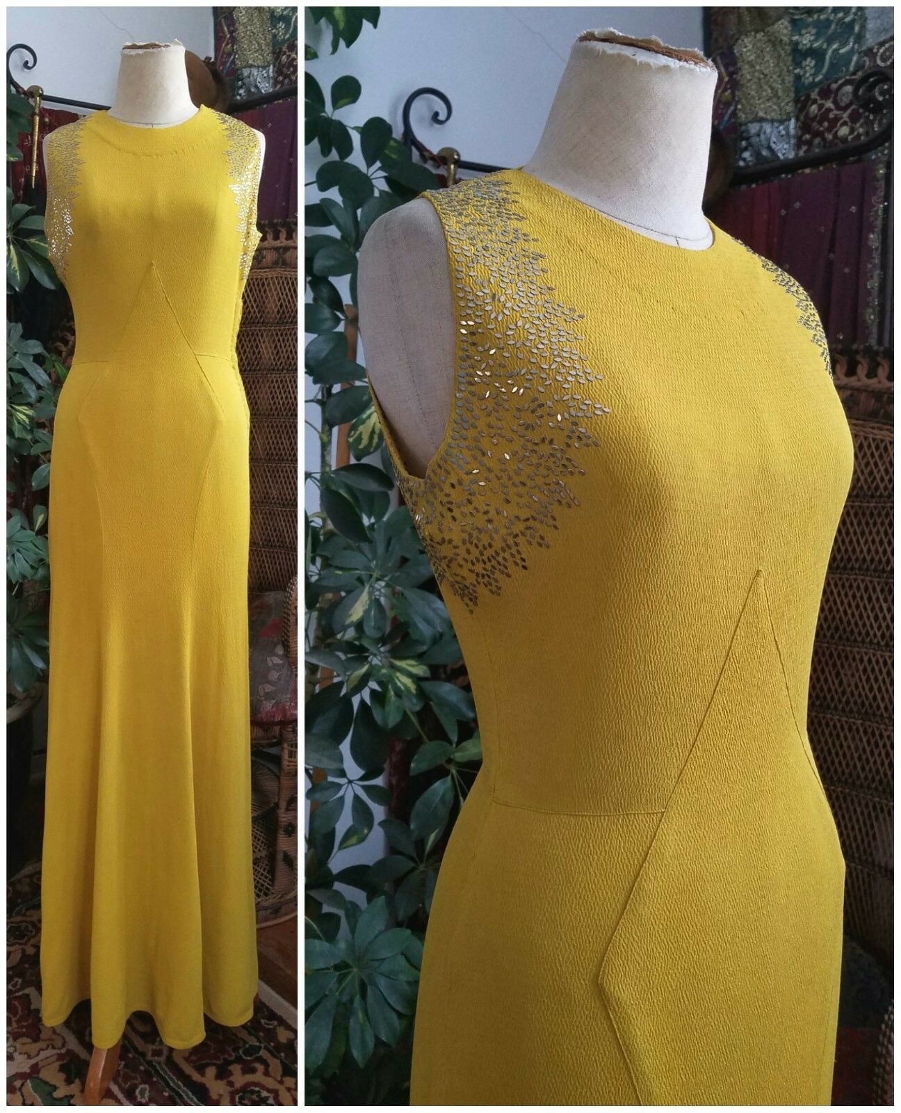 Stunning 1930 S Art Deco Yellow Crepe Vintage Evening Gown Dress 30s Antique Ebay Vintage Evening Gowns Evening Gown Dresses Velvet Evening Gown