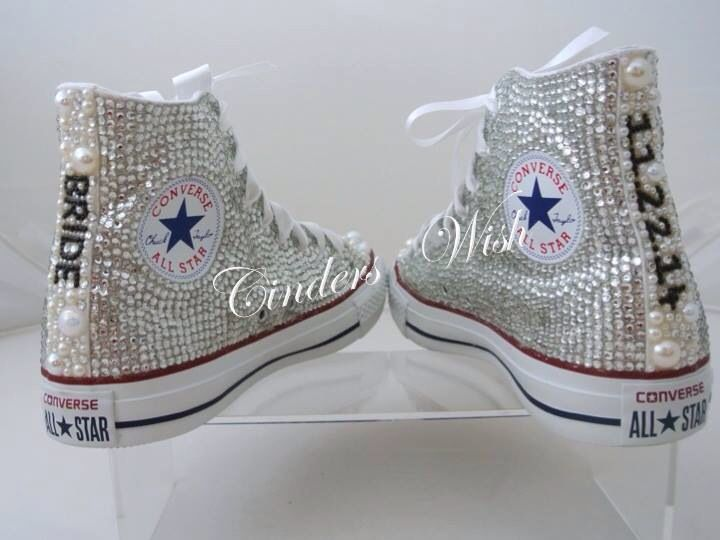 4de9e905a3f75 Ivy's wedding shoes. Pearl and Crystal Converse. Beautifully covered ...