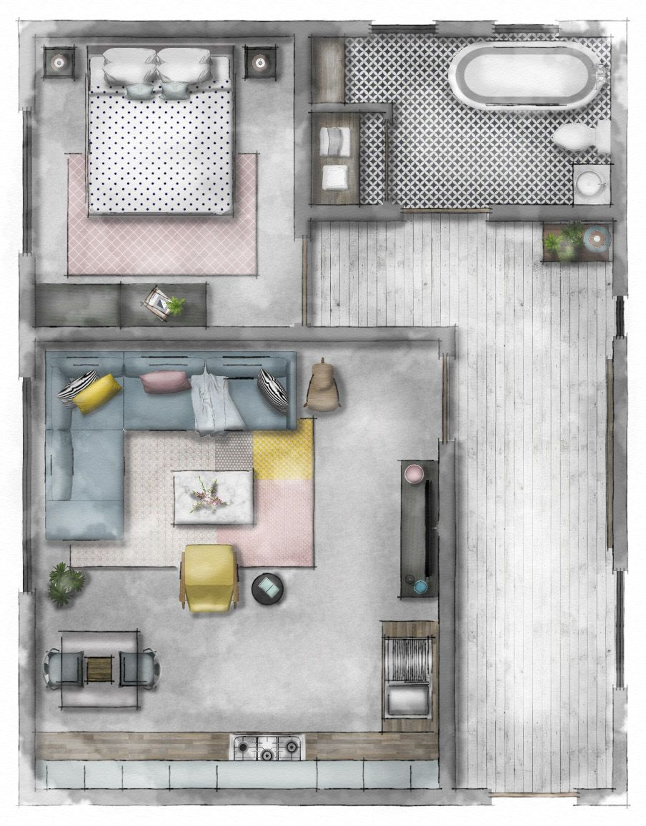 Hotel Floor Plan Hotel Online Course For Beginners Who Would Like To Learn How To Create Floor Plan Rendered Floor Plan Interior Design Plan Create Floor Plan