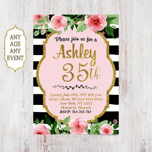 Surprise 35th Birthday Invitation Gold