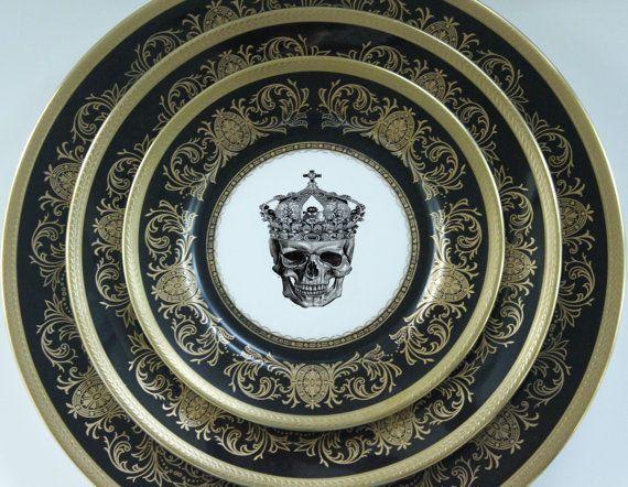 3-Piece Aynsley Imperial Onyx Skull Plate Set Black Gold Custom Dinnerware Personalized & 3-Piece Aynsley Imperial Onyx Skull Plate Set Black Gold Custom ...