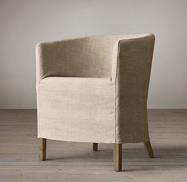 Office Chair That Can Serve At Small Side When Convert To Bedroom Barrelback Slipcovered Short Skirt Armchair