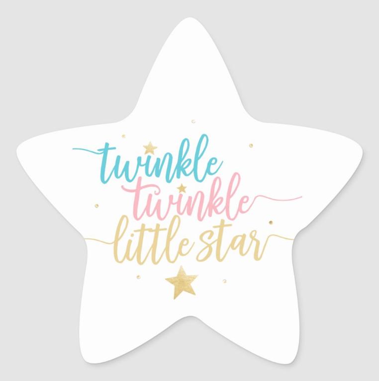 Twinkle Twinkle Little Star Gender Reveal Shower Star Sticker Zazzle Com Twinkle Twinkle Little Star Baby Shower Gender Reveal Gender Reveal Party Theme