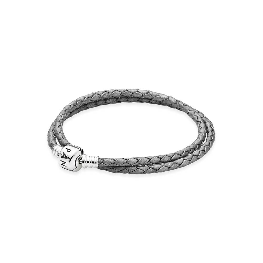 Silver Grey Double Leather Charm Bracelet - with Sterling Silver ...