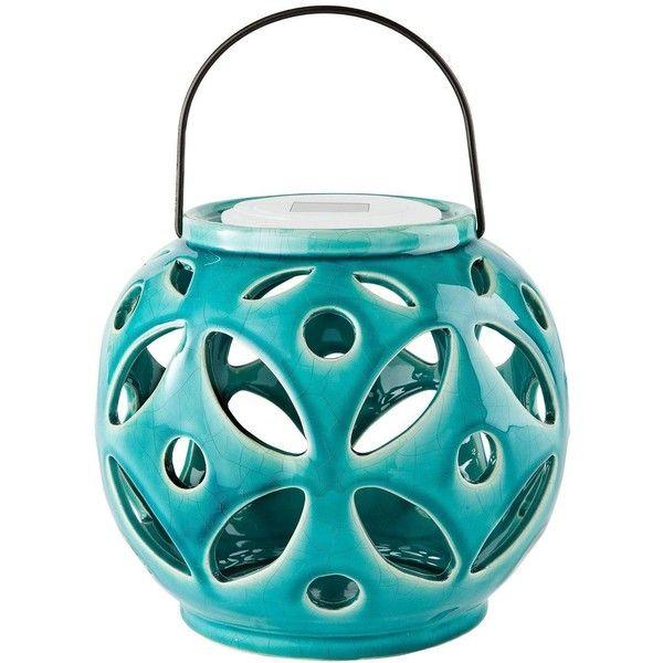 Maison U0026 Garden   Solar Powered Ceramic Lantern In Turquoise