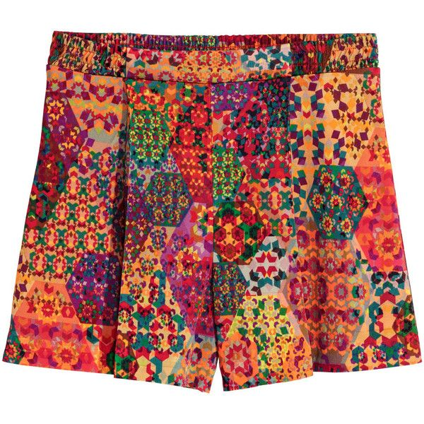 H&M Patterned shorts (1,120 DOP) ❤ liked on Polyvore featuring shorts, woven shorts, h&m shorts, pleated shorts, elastic waist shorts and elastic waistband shorts