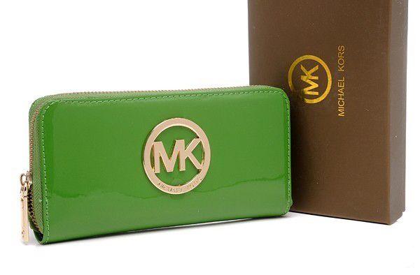 abc3d2daa5 Michael Kors Mirror Metallic Circle Logo Purses Green | Michael Kors ...
