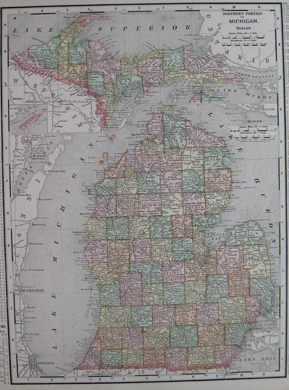 Antique MICHIGAN Map Of Michigan State Map By Plaindealing On Etsy - Us map michigan state