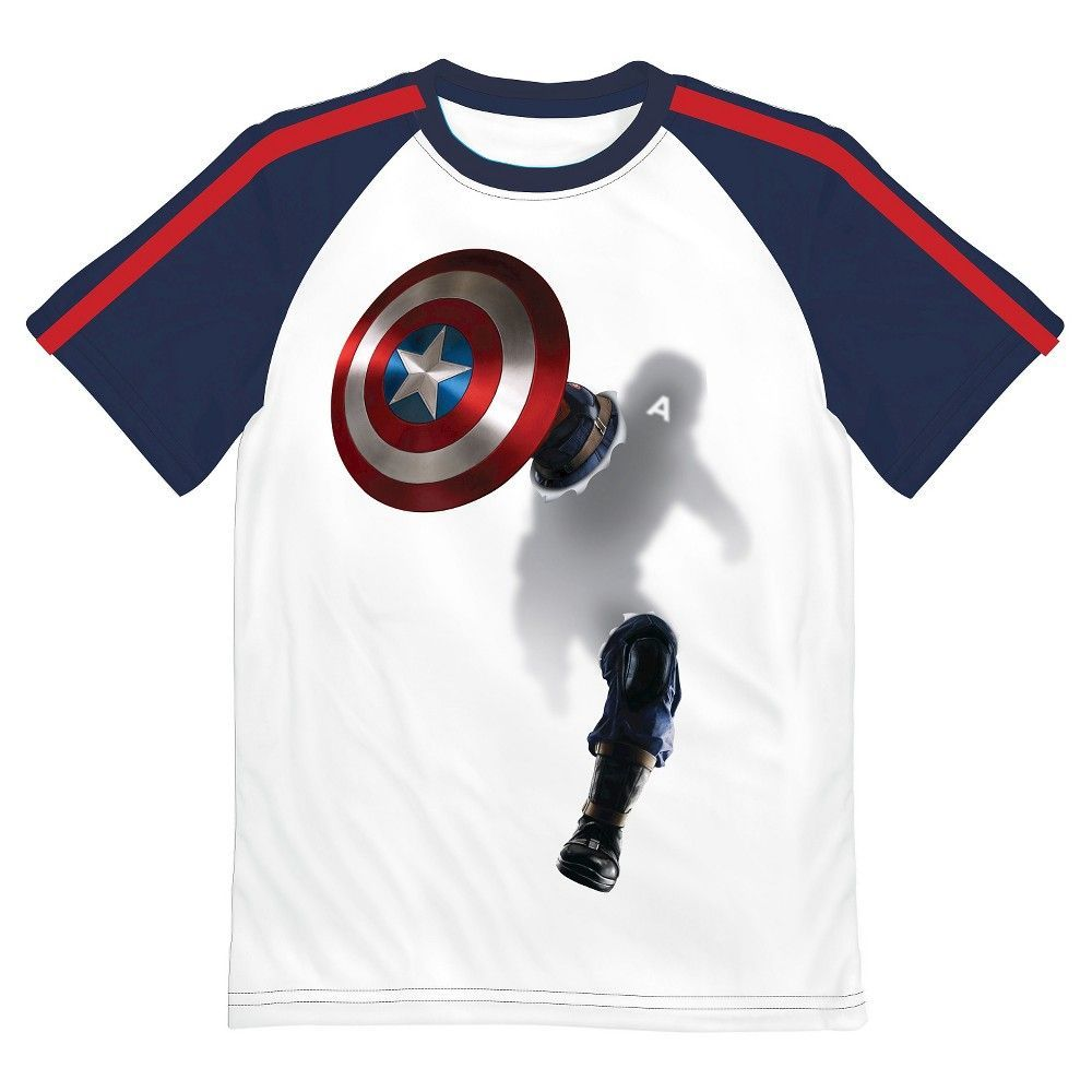 Captain America Boys' Baseball Tee - White XL, Boy's