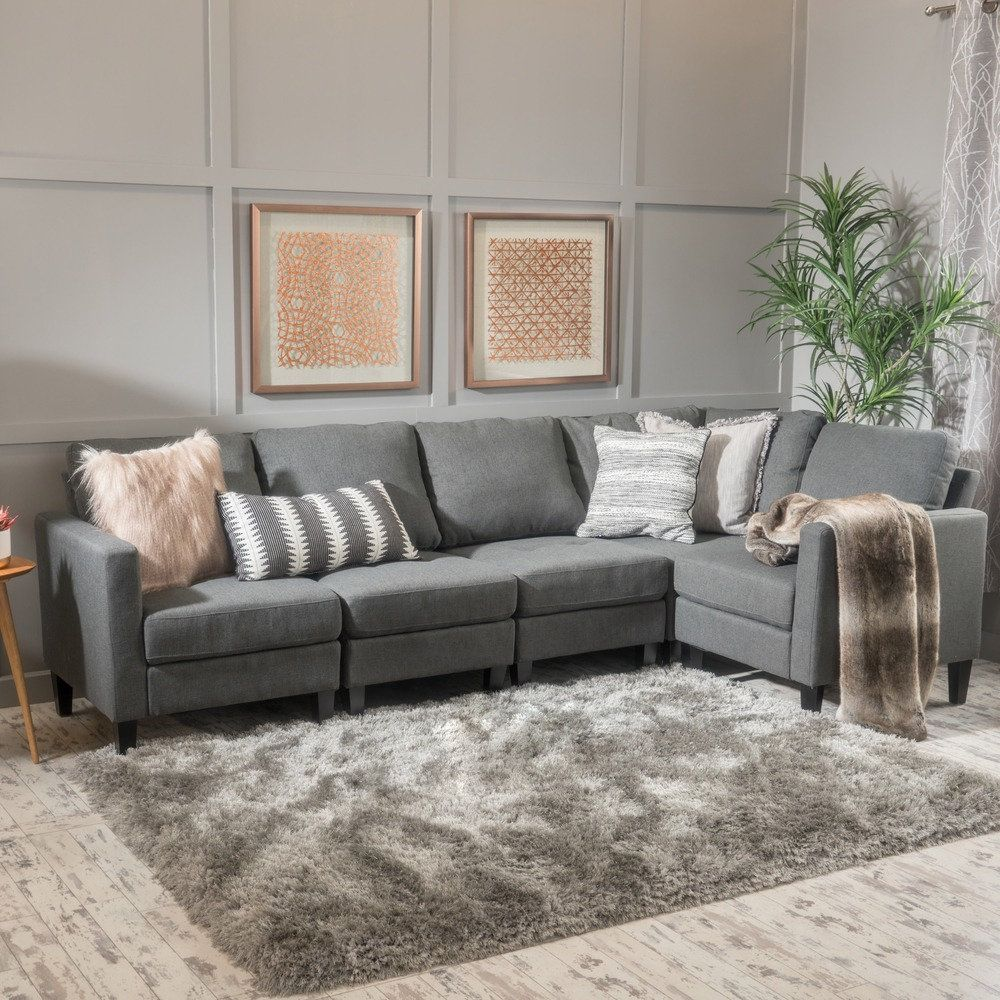 Best Zahra 5 Piece Fabric Sofa Sectional By Christopher Knight 400 x 300