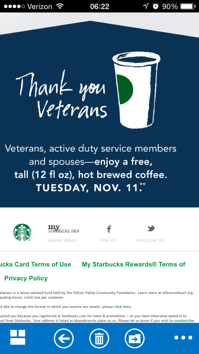 Veterans and Spouses Get Free Starbucks 11/11! Will Run