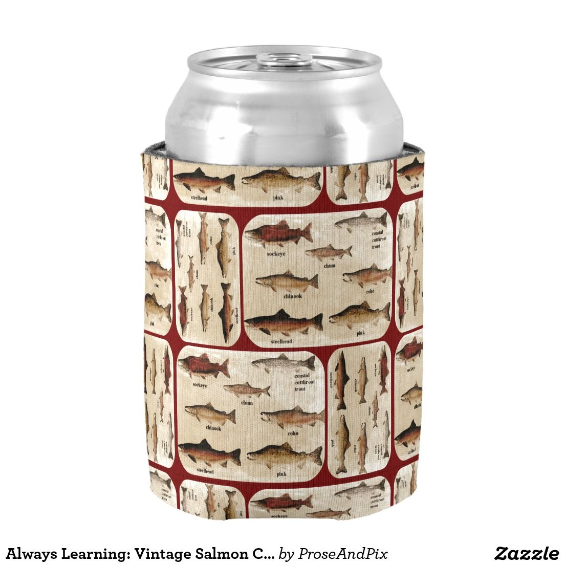 #FishOn Always Learning: Vintage #Salmon Chart Fish Lovers Can Cooler @ #Zazzle ~ #camping #outdoors #drinking #gear