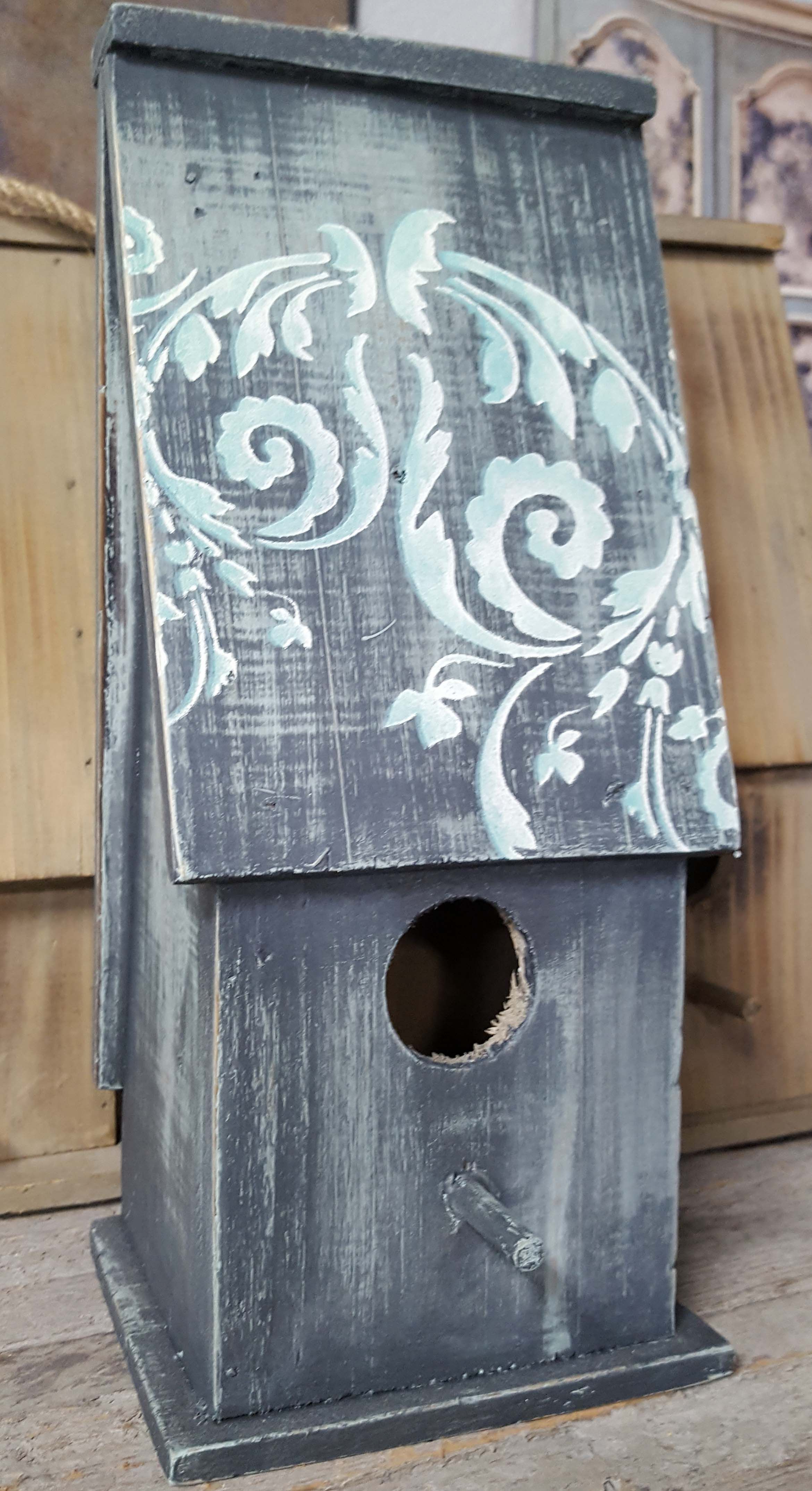 New Decorating Wood Bird Houses With Chalk Paint Stencils And