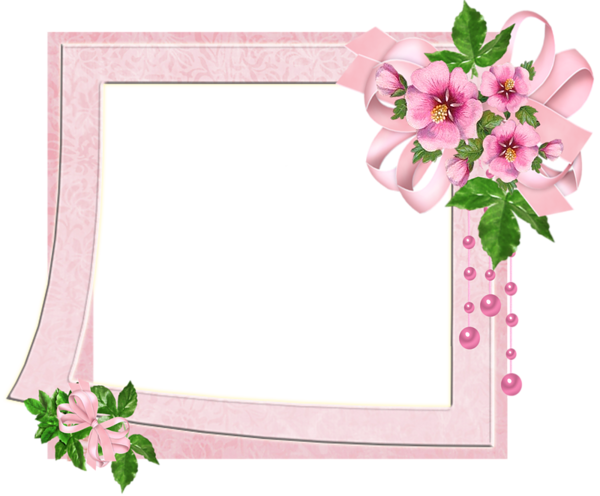 Cute Pink Transparent Photo Frame with Flowers | منتدى مدينة قطنا ...