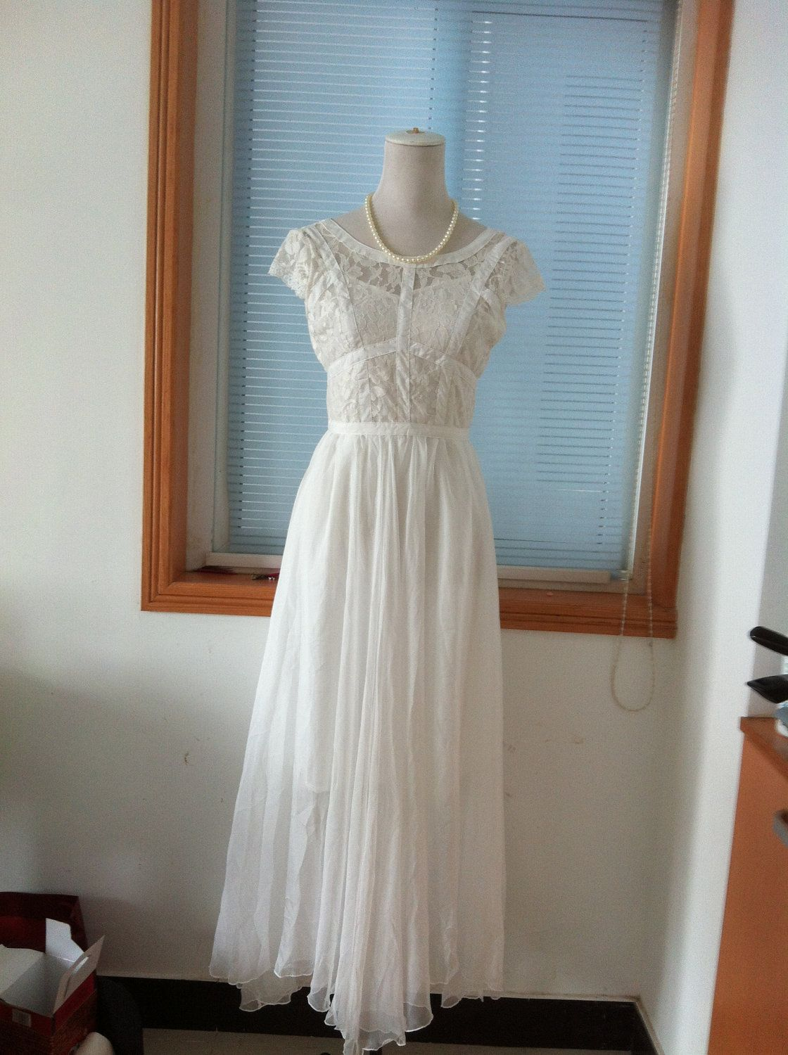 White black lace wedding dress chiffon dress cap sleeves maxi long