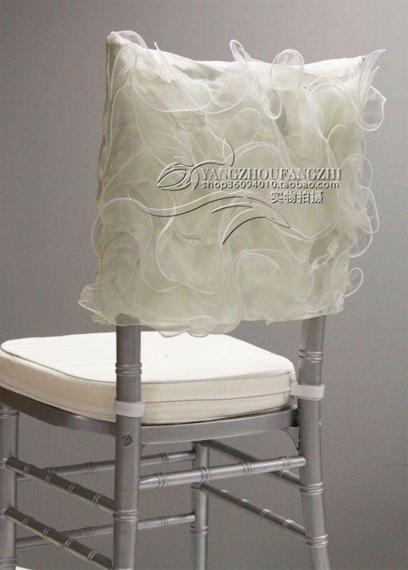 Luxurious Ivory Organza Swirl Chair Cap For Chiavari
