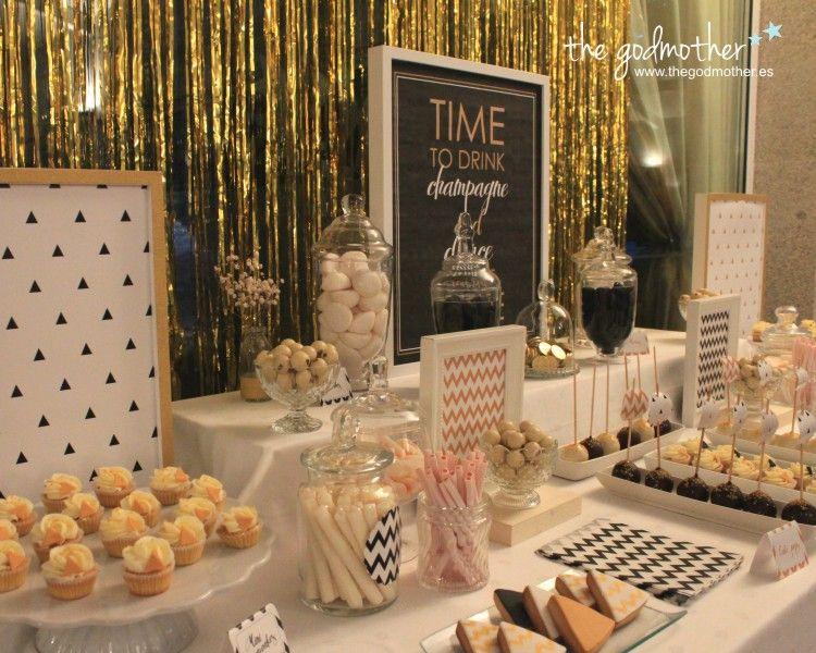 Mesa dulce dorado blanco y negro mesa dulce fin de a o for Decoracion de cumpleanos rosa y dorado