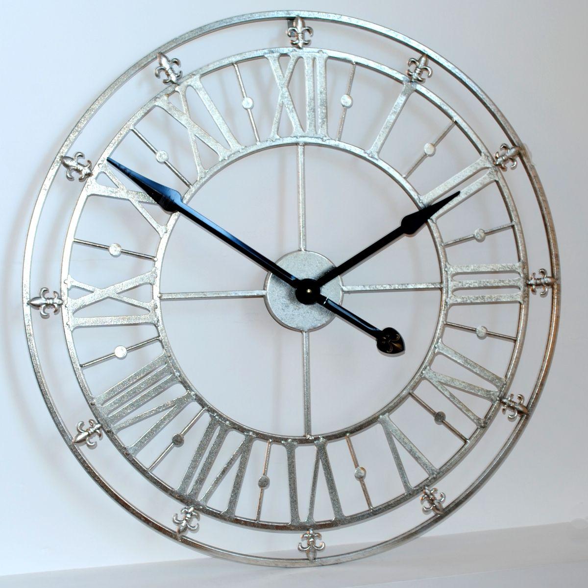 Silver Iron Skeleton Wall Clock 76cm 30 Diameter Big Wall Clocks Oversized Wall Clock Wall Clocks Uk