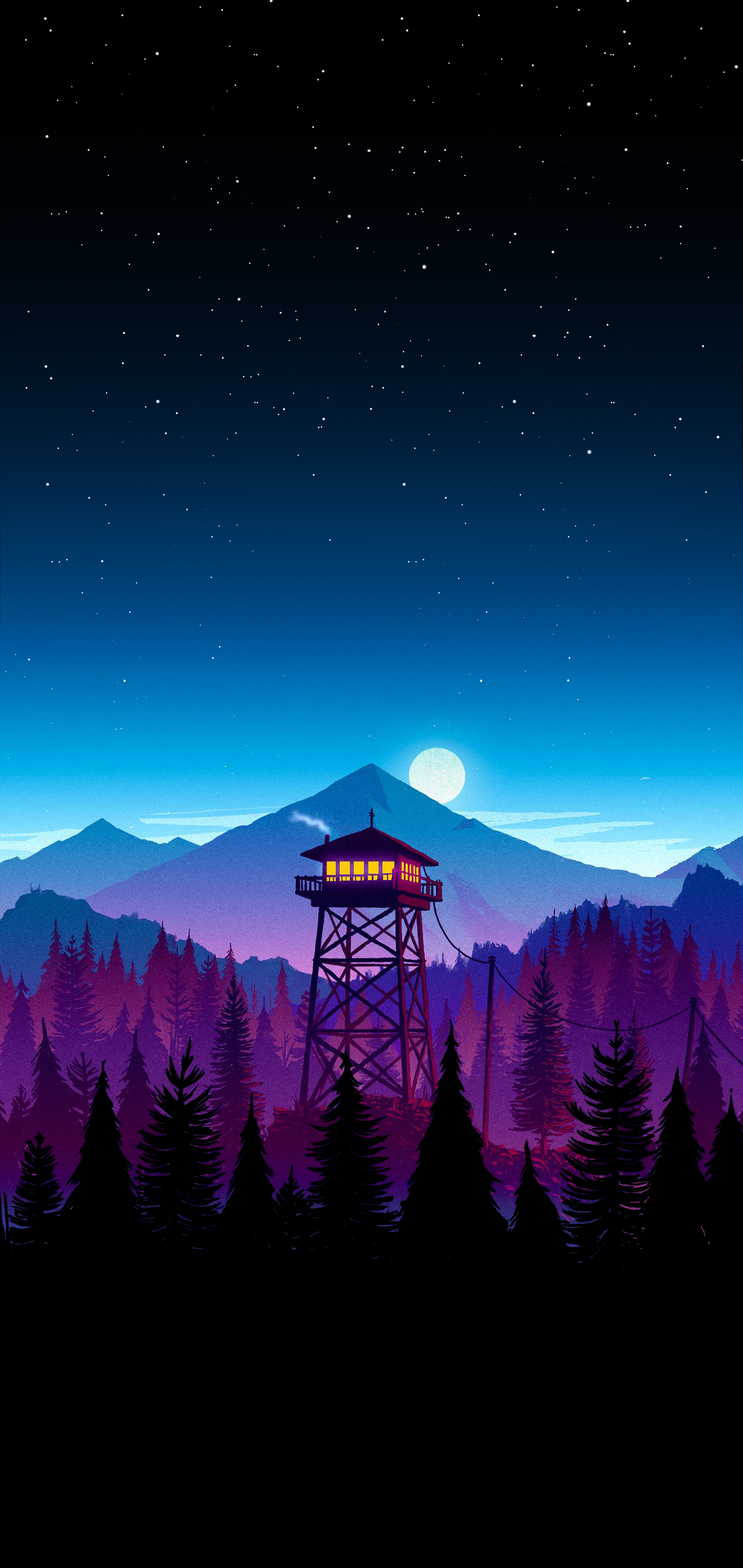 iPhone X wallpaper (modified to add pure black at top and bottom) : Firewatch