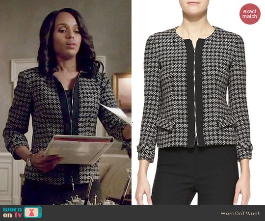 8253fc4120c41b Olivia's checked tweed zip front jacket on Scandal. Outfit Details: http://