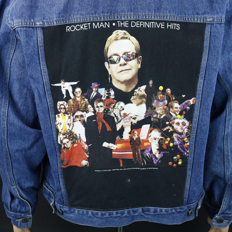Elton John Wrangler Denim Jacket Blue Jean Rocket Man Concert Tour Mens Xlarge Blue Denim Jacket Patterned Jeans Tour T Shirts [ 3000 x 3000 Pixel ]