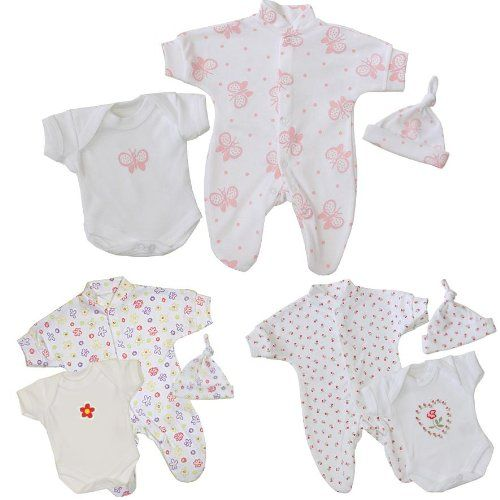 033d01d63 Premature Early Baby Girls Clothes 3 Piece Set Sleepsuit Bodysuit ...