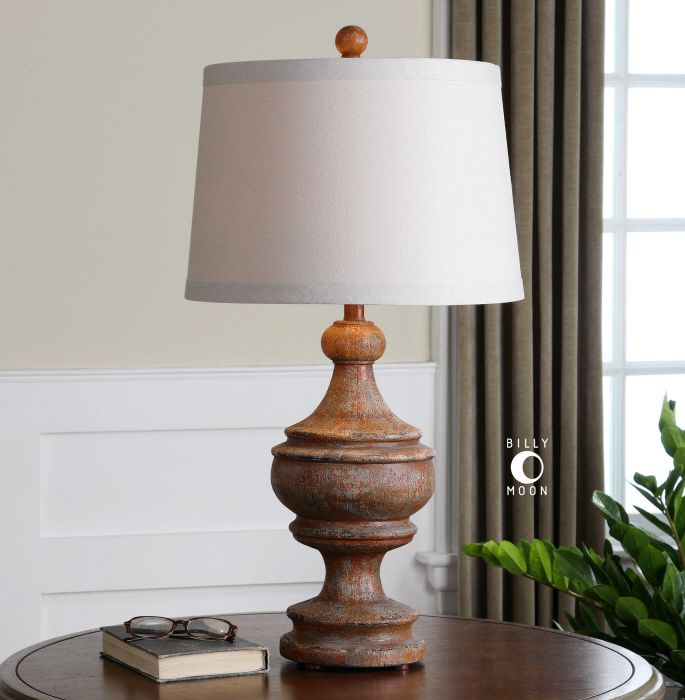 Wood Base Lamps: Uttermost Via Lata Solid Wood Table Lamp. Solid wood base finished in a  heavily distressed,Lighting