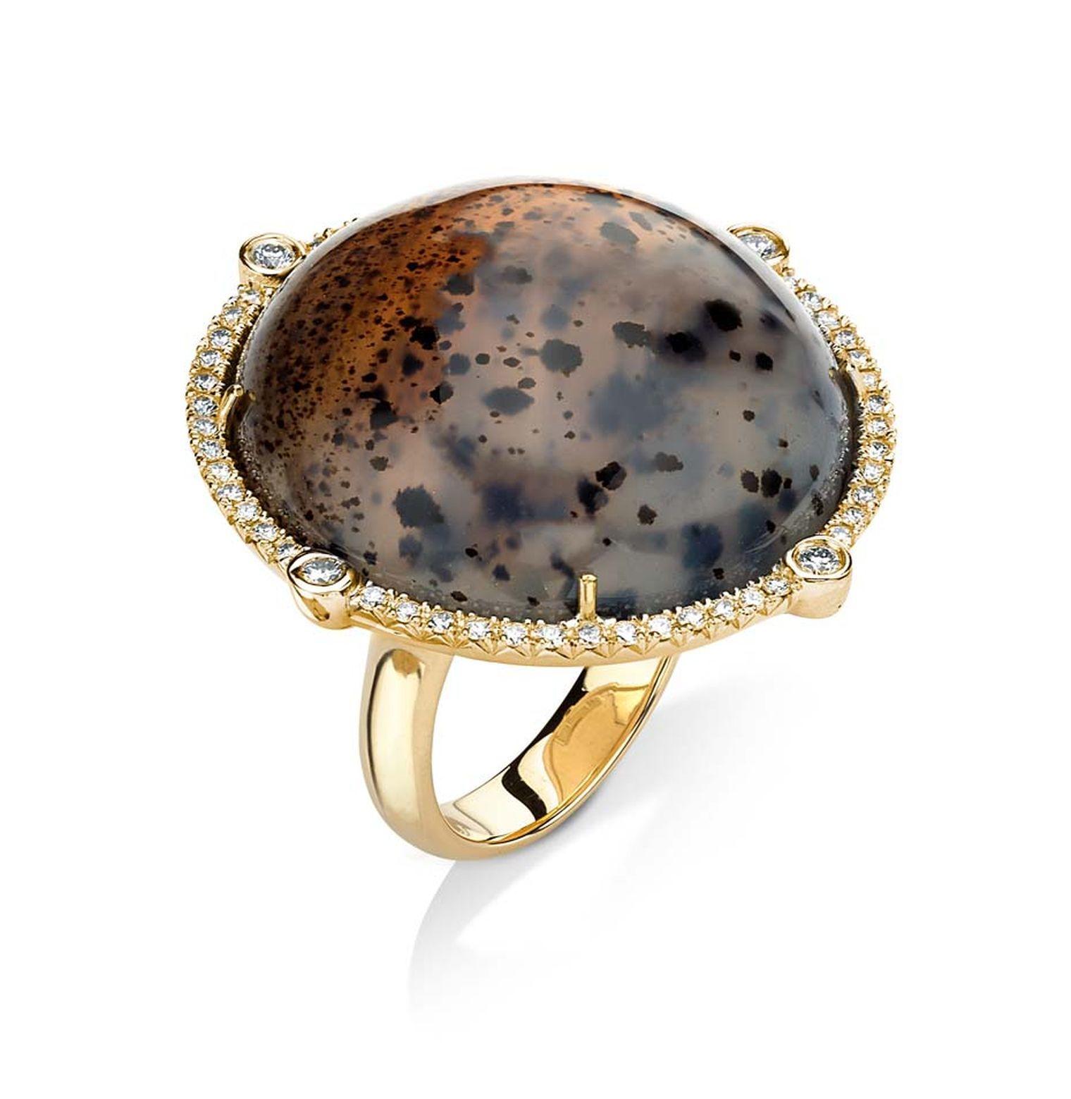 Pamela Huizenga gold ring with a 49.70ct Montana agate and diamond pavé.