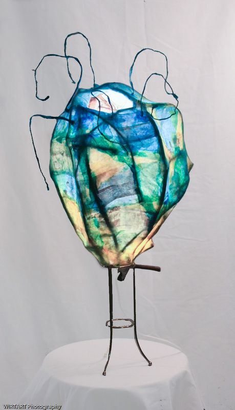 Seed Pod - Mixed media sculpture - layers of reed, tissue paper ...