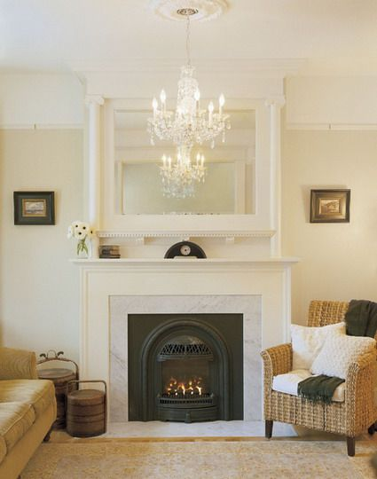Classic Fireplace and Rattan Chairs Furniture Sets in Small Living Room Interior Decorating Designs Ideas