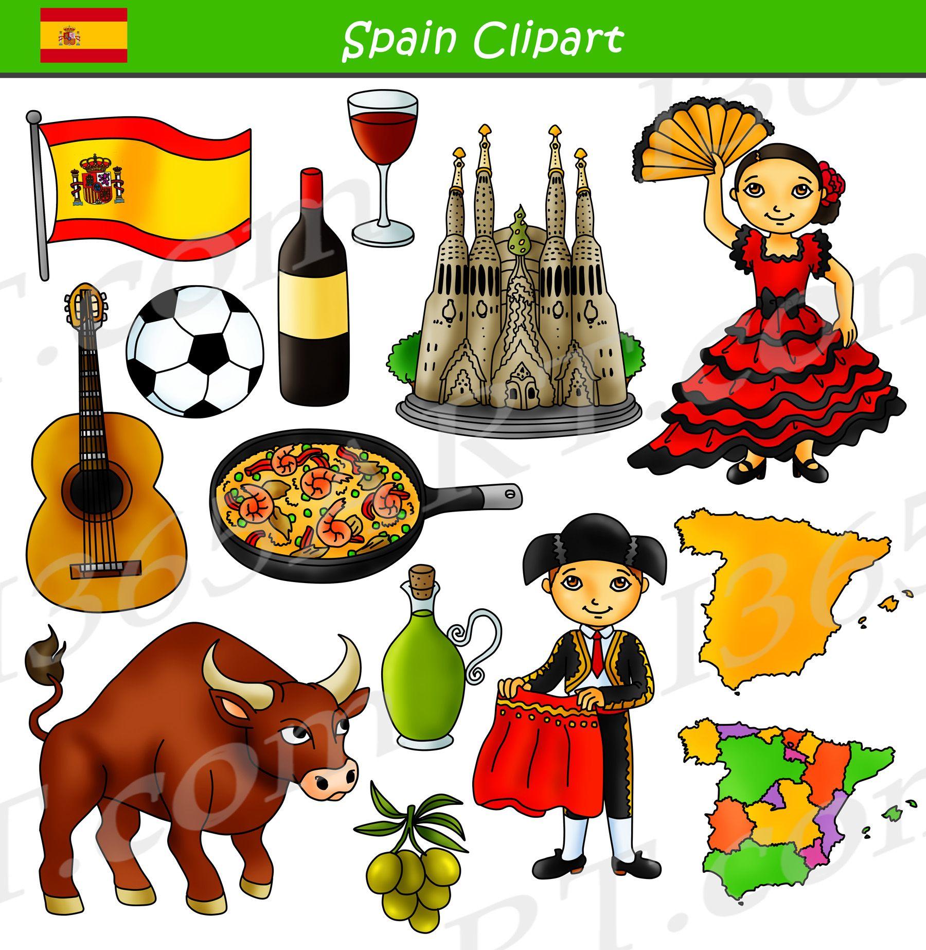 Spain Clipart Culture Graphics Bundle Set | Clip art ...
