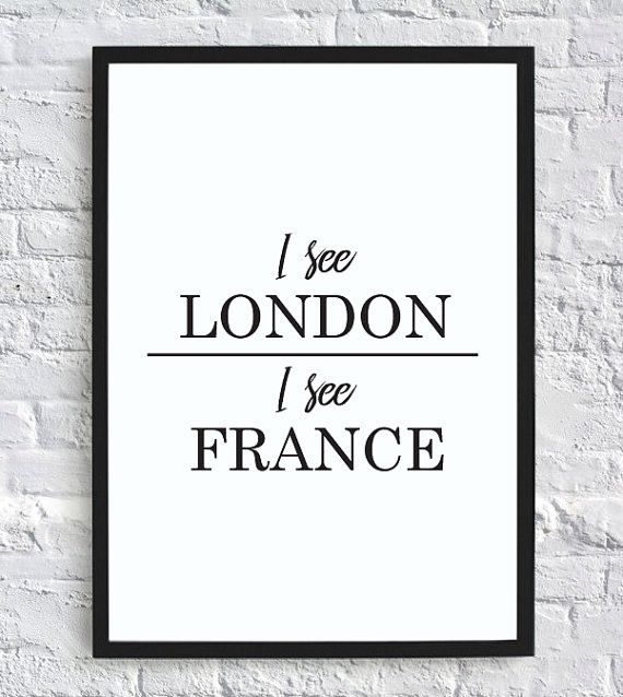 i see london i see france funny bathroom wall decor print digital download is part of Bathroom humor - I see London, I see France   funny bathroom wall decor print (digital download) Bathroomart DIY