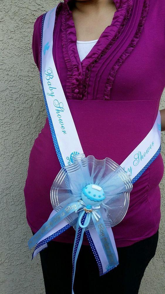 Nice 1Baby Shower MOM TO BE SASH,BLUE/BOY, Ribbon Favor,Handmade,