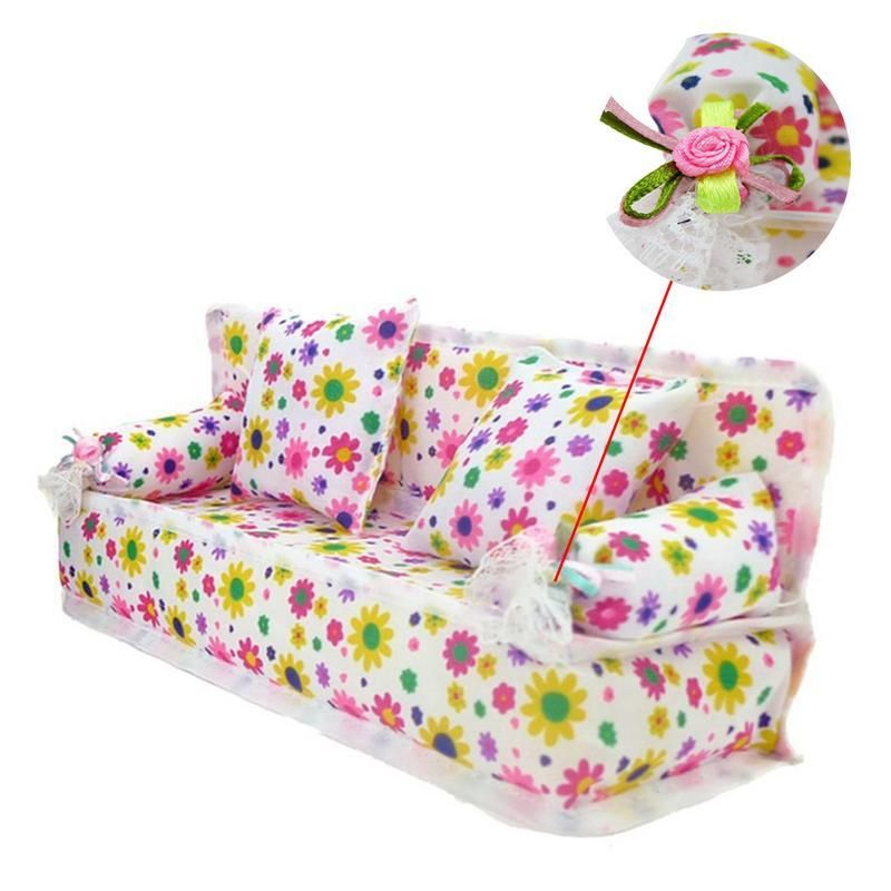 Barbie Doll Sofa Toy Mini Mini Flower Cloth Sofa Couch With 2
