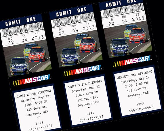 Custom NASCAR Birthday Invitation ticket Choose by juliemadeit - create a ticket template