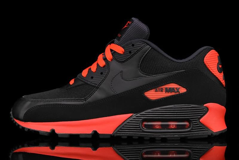 Nike Air Max 90 Essential BlackRed | Nike shoes, Sneakers
